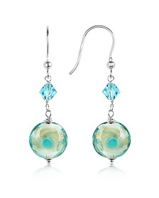 Vortice - Turquoise Swirling Murano Glass Bead Earrings - House of Murano