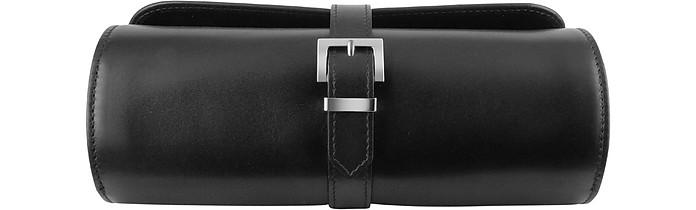 ec9b598b68519 Handmade Black Italian Calf Leather Watch Roll Case