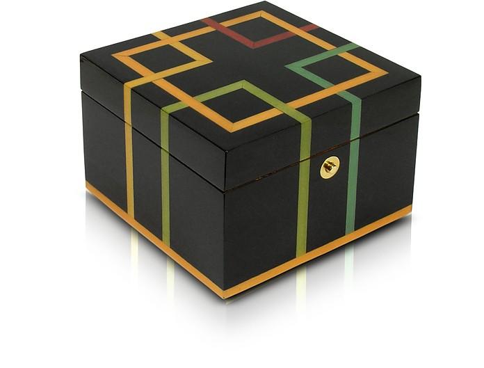 Schmuckkasten aus Holz mit geometrischem Muster in schwarz - Forzieri
