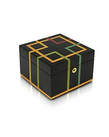 Black Geometric Inlaid Wood Jewelry Box - Forzieri