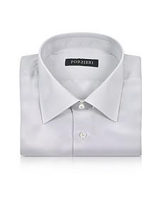 Silver Gray Pure Silk Dress Shirt