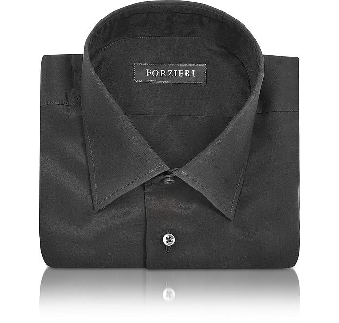 Dramatic Black Pure Silk Dress Shirt - Forzieri
