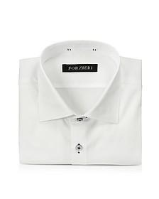 White Cotton w/Blue Stitching Dress Shirt
