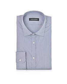 Blue Striped Cotton Blend Slim Fit Shirt  - Forzieri