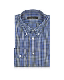 Blue and Yellow Plaid Cotton Slim Fit Men's Shirt - Forzieri