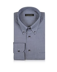 Blue and White Button-down Woven Cotton Shirt - Forzieri