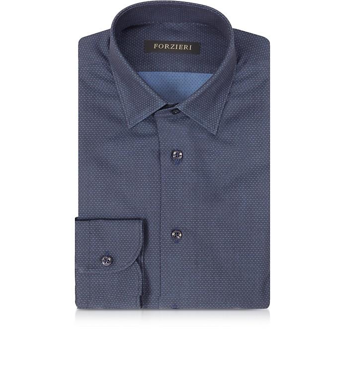 Navy Blue Mini Dots Cotton Slim Fit Men's Shirt - Forzieri
