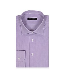 Purple & White Striped Cotton Slim Fit Men's Shirt - Forzieri