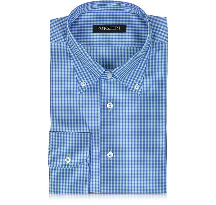 Blue & Light Blue Checked Cotton Slim Fit Men's Shirt - Forzieri