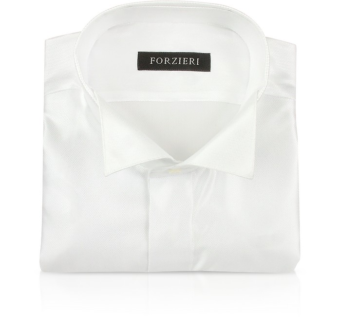 White Wing Collar Tuxedo French Cuff Dress Shirt - Forzieri