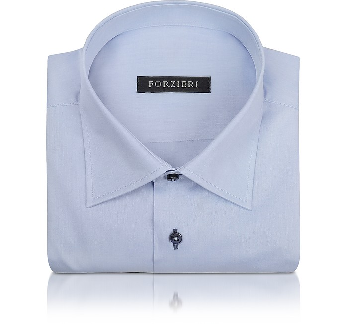 Blue Twill Dress Shirt - Forzieri