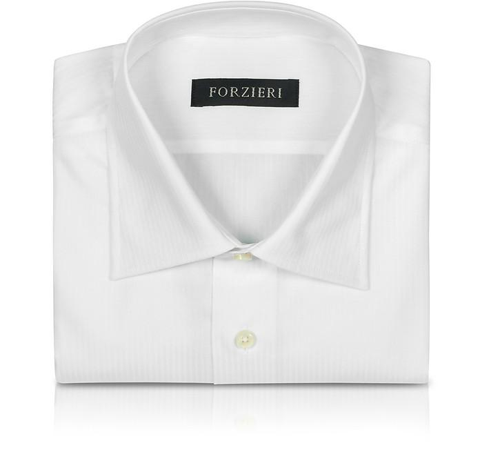 Forzieri white herringbone stripes dress shirt 15 34 35 at for White herringbone dress shirt