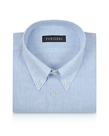 Light Blue Linen Dress Shirt - Forzieri