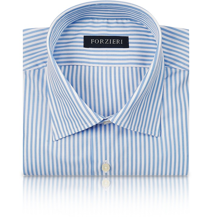 Striped White and Light Blue Cotton Dress Shirt - Forzieri