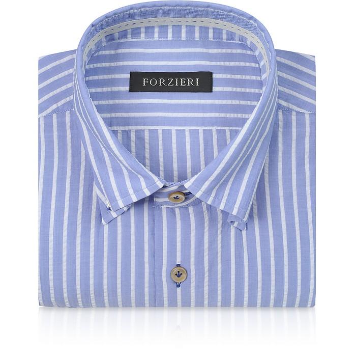 Slim Fit - Baumwollhemd mit Streifen in blau und weiß - Forzieri