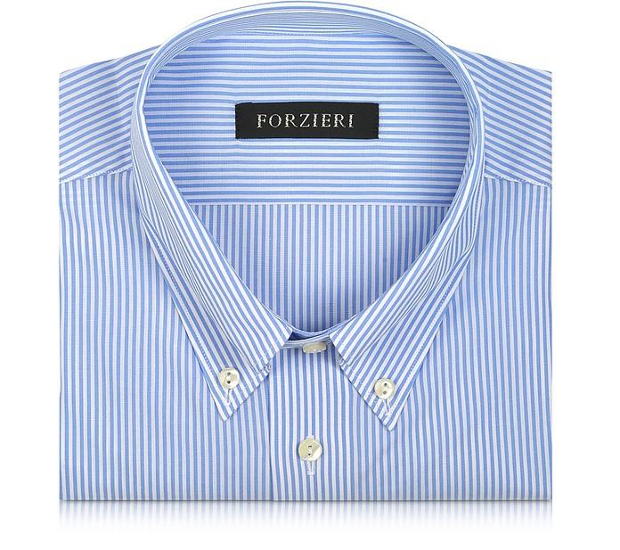 Light Blue Striped Non Iron Cotton Dress Shirt - Forzieri