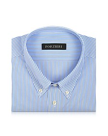 Light Blue Striped Non Iron Cotton Dress Shirt - Forzieri