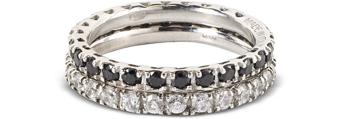Set of Two Sterling Silver and Swarovski Crystals Rings - Forzieri