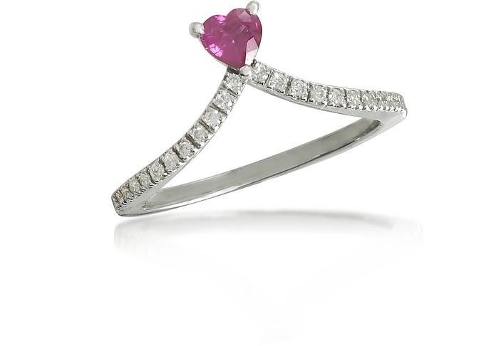 Ruby Heart V-Shaped Diamonds Ring  - Forzieri