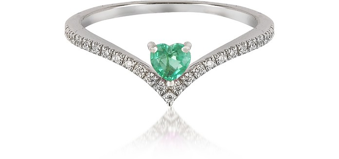 V-Shaped Diamonds Band Ring with Enclosed Emerald Heart - Forzieri