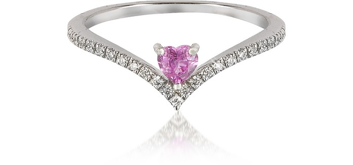 V-Shaped Diamonds Band Ring with Enclosed Pink Natural Sapphire Heart - Forzieri