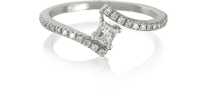 Squared Diamond 18K White Gold Solitaire Ring - Forzieri