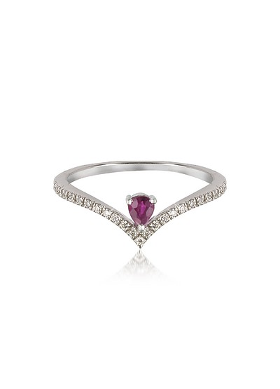 V-Shaped Diamonds Band Ring with Enclosed Drop Ruby - Forzieri