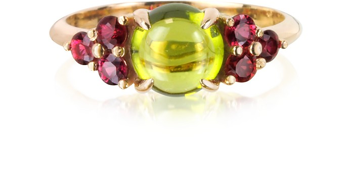 Red Sapphires and Peridot 18K Rose Gold Ring - Mia & Beverly