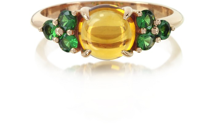 Citrine Quartz and Sapphires 18K Rose Gold Ring - Mia & Beverly