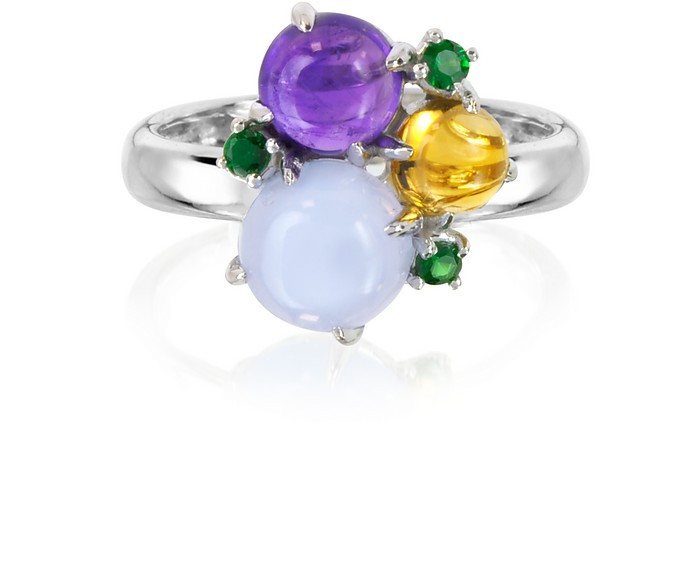 Gemstones 18K White Gold Ring - Mia & Beverly