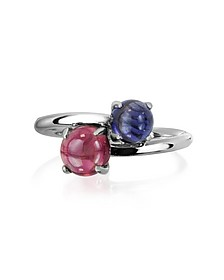 Iolite and Garnet 18K White Gold Ring - Mia & Beverly