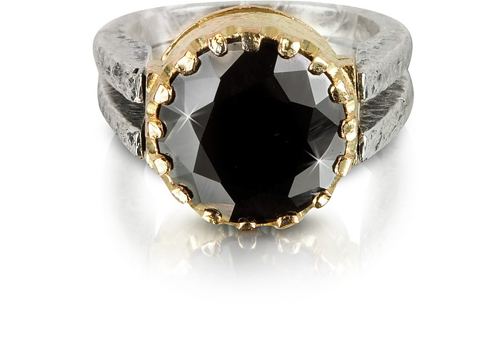 Black Cubic Zirconia Sterling Silver & Rose Gold Ring - Tryò