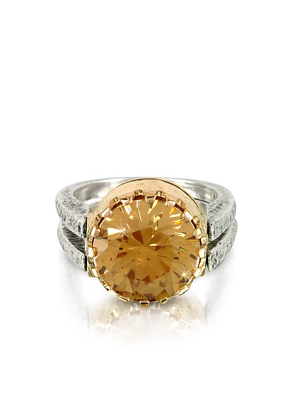 5dc40a01fe4b Gold Champagne Cubic Zirconia Sterling Silver   Rose Gold Ring - Tryò