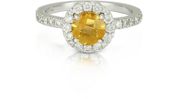negozio online 7e441 5f85d Anello in Oro Bianco con Diamanti e Quarzo Citrino