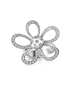 0.57ct Diamond Flower 18K Gold Ring - Forzieri