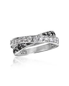 Black & White Diamond Crossover 18K Gold Ring - Forzieri