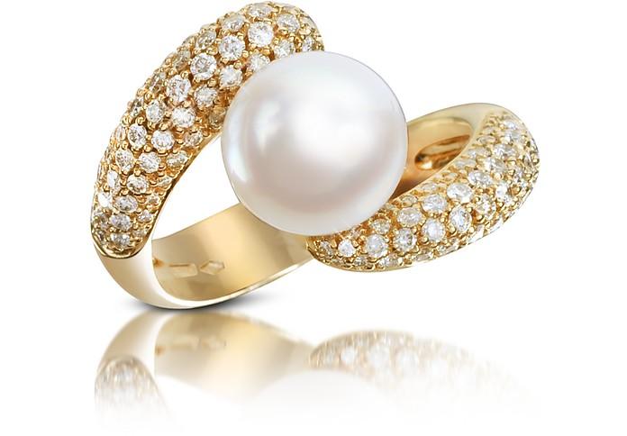 Bague en or 750 avec diamant 0.70 et perles  - Forzieri