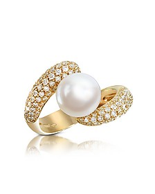 0.70 ct Diamond and Pearl 18K Gold Ring
