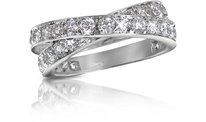 1.84 ct Diamond Crossover 18K Gold Ring - Forzieri