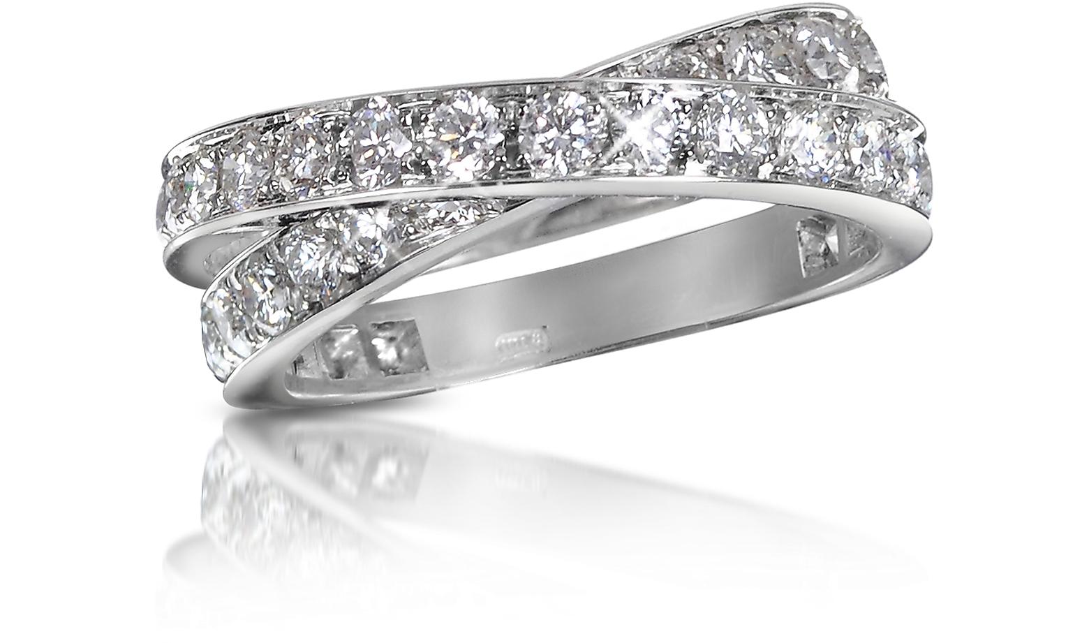 1.84 ct Diamond Crossover 18K Gold Ring