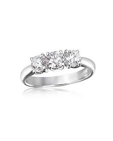 0.92 ctw Diamond Three-Stone 18K Gold Ring - Forzieri