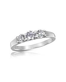 0.64 ctw Diamond Three-Stone 18K Gold Ring - Forzieri