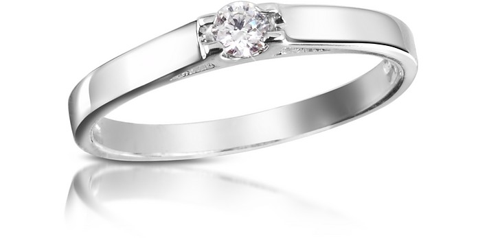 0.10 ctw Diamond Solitaire Ring  - Forzieri