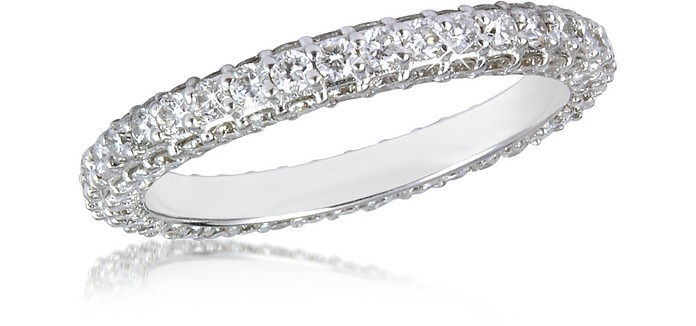 Anillo Eternity de Oro Blanco 18K y Diamantes - Forzieri