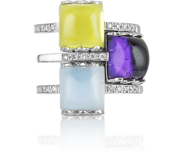 Gemstone and Diamond 18K White Gold Ring - Mia & Beverly