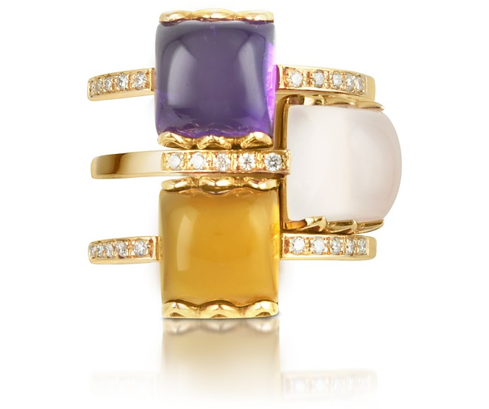 Gemstone and Diamond 18K Rose Gold Ring - Mia & Beverly