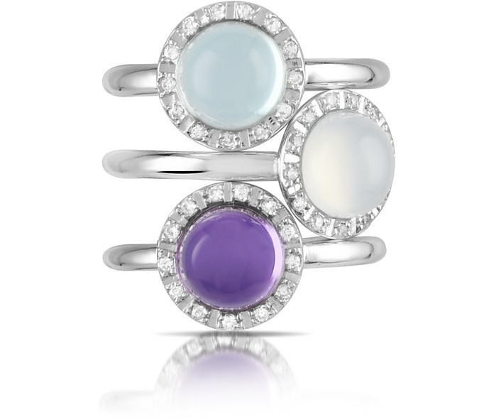 Gemstone and Diamond 18K White Gold Ring - Mia & Beverly