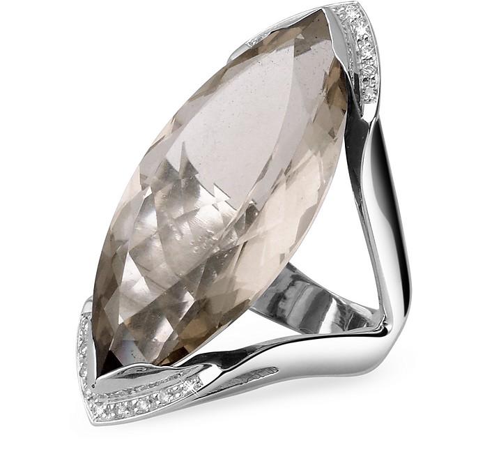 Diamond White Usa >> Forzieri Smokey Quartz And Diamond White Gold Fashion Ring Usa 5 5