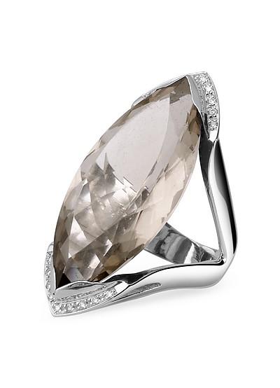 Modischer Ring in Weissgold mit Quarzstein und Diamanten - Forzieri