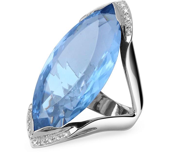 Diamond White Usa >> Blue Topaz And Diamond White Gold Fashion Ring